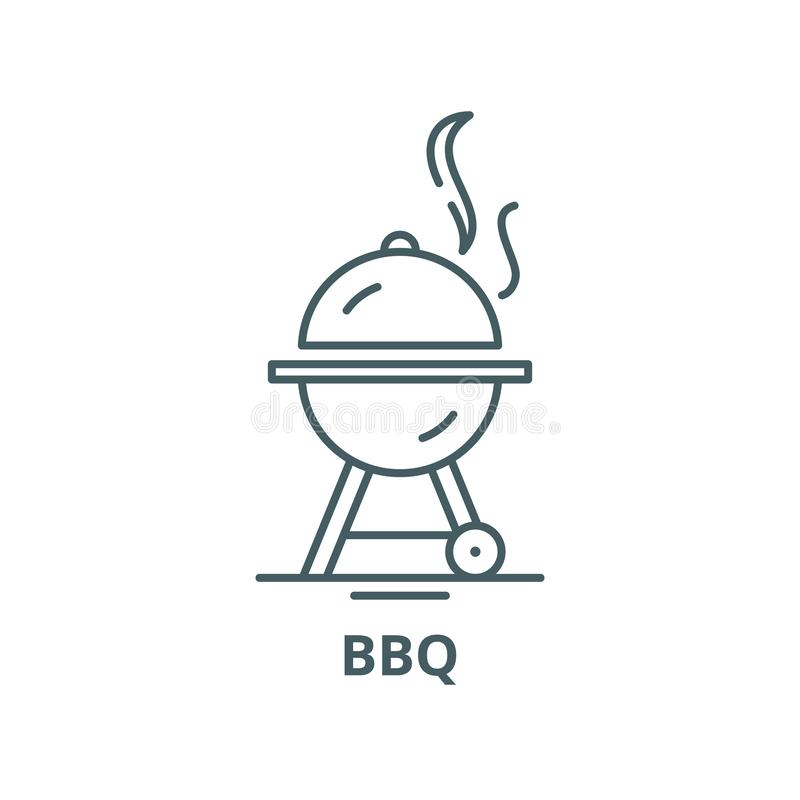 Linea icona, concetto lineare, segno del profilo, simbolo di vettore del Bbq illustrazione vettoriale