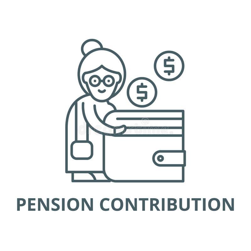 Linea icona, concetto lineare, segno del profilo, simbolo di vettore di contributo di pensione royalty illustrazione gratis