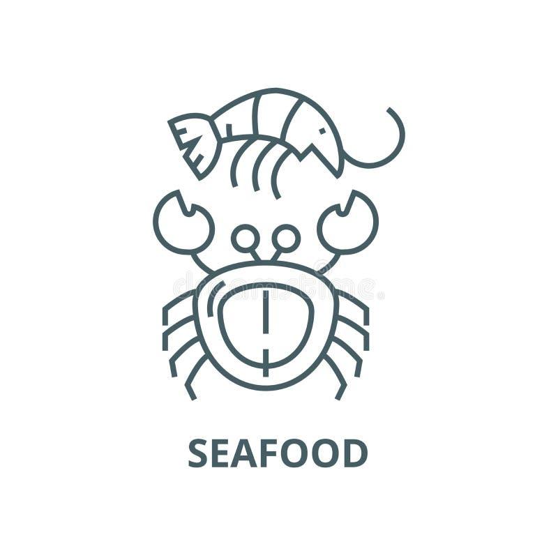 Linea icona, concetto lineare, segno del profilo, simbolo di vettore dei frutti di mare illustrazione vettoriale