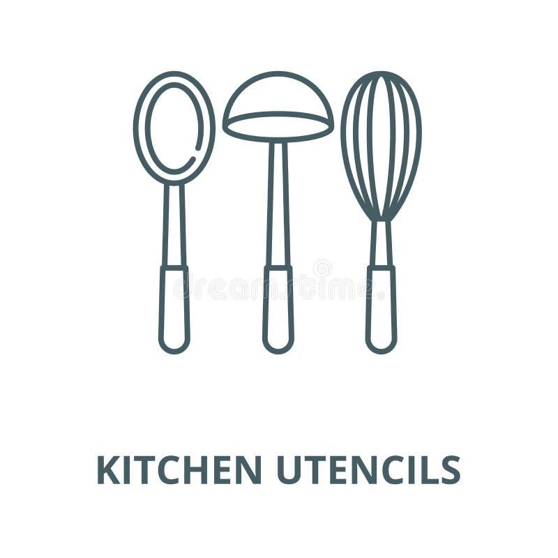 Linea icona, concetto lineare, segno del profilo, simbolo di vettore dei utencils della cucina illustrazione di stock