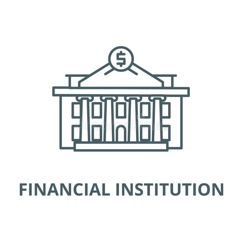 Linea icona, concetto lineare, segno del profilo, simbolo di vettore dell'istituzione finanziaria illustrazione di stock