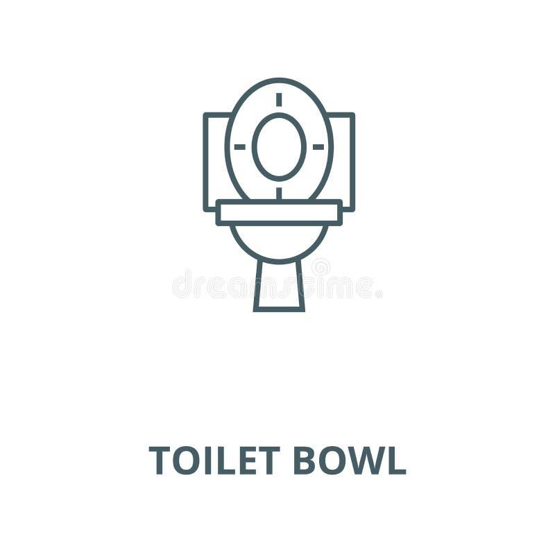 Linea icona, concetto lineare, segno del profilo, simbolo di vettore della ciotola di toilette illustrazione di stock