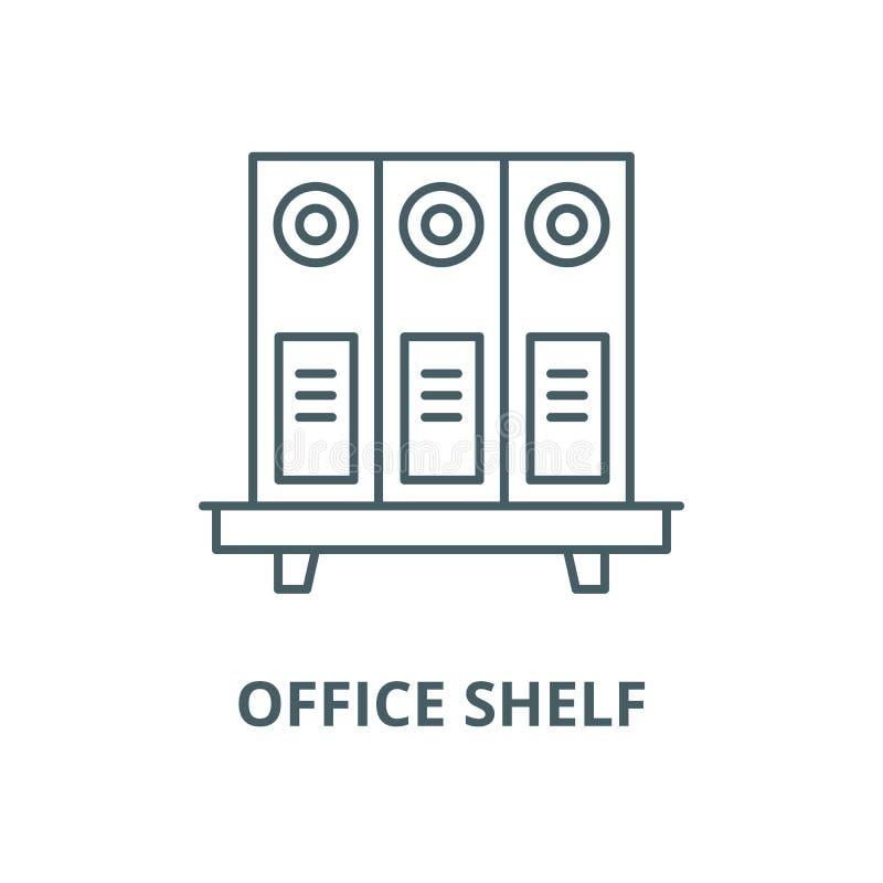 Linea icona, concetto lineare, segno del profilo, simbolo di vettore dello scaffale dell'ufficio illustrazione vettoriale