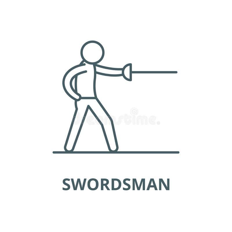 Linea icona, concetto lineare, segno del profilo, simbolo di vettore dello spadaccino illustrazione di stock