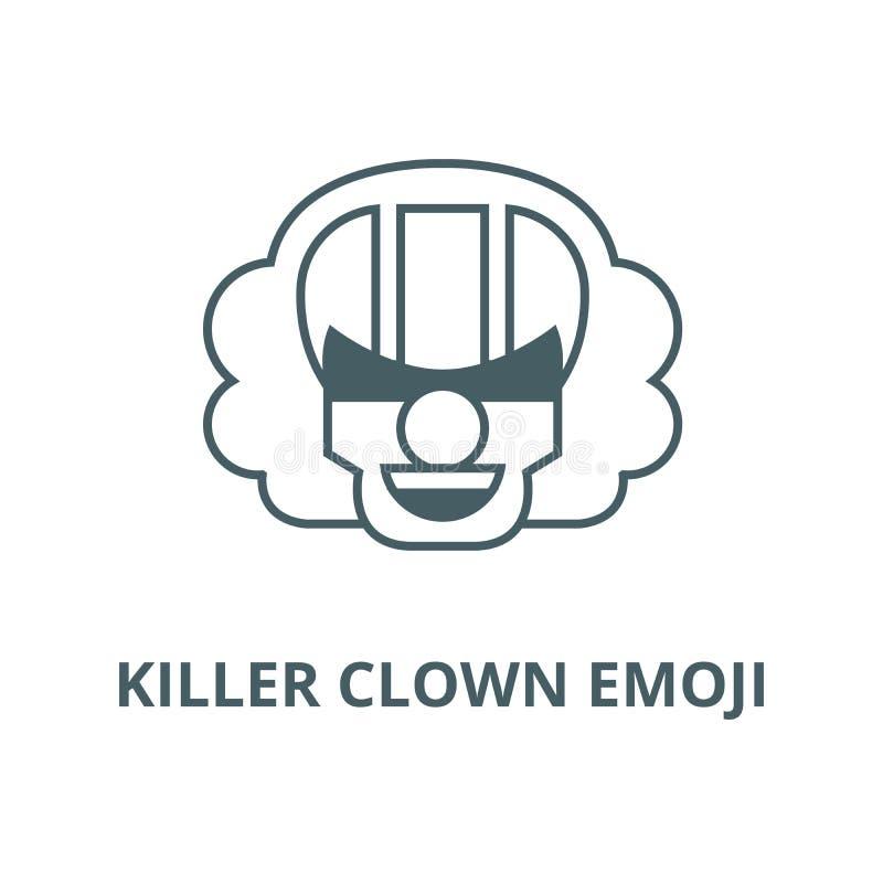 Linea icona, concetto lineare, segno del profilo, simbolo di vettore di emoji del pagliaccio dell'uccisore illustrazione di stock