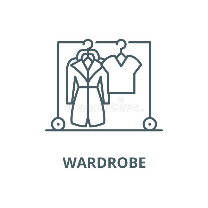 Linea icona, concetto lineare, segno del profilo, simbolo di vettore del guardaroba illustrazione di stock