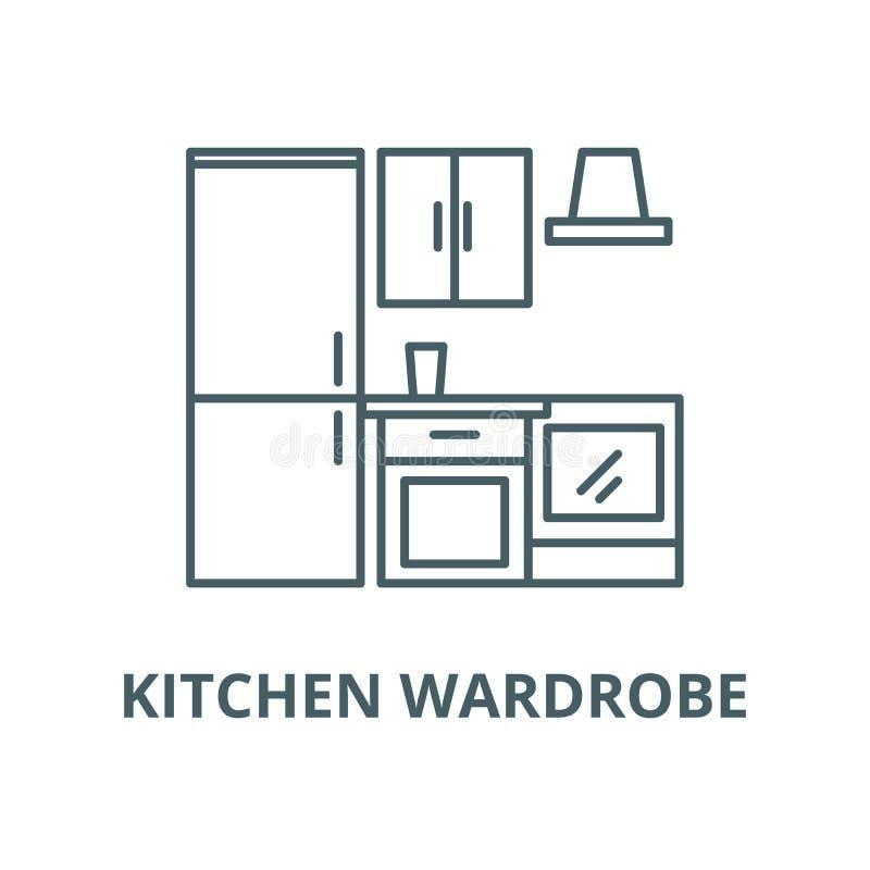 Linea icona, concetto lineare, segno del profilo, simbolo di vettore del guardaroba della cucina illustrazione di stock