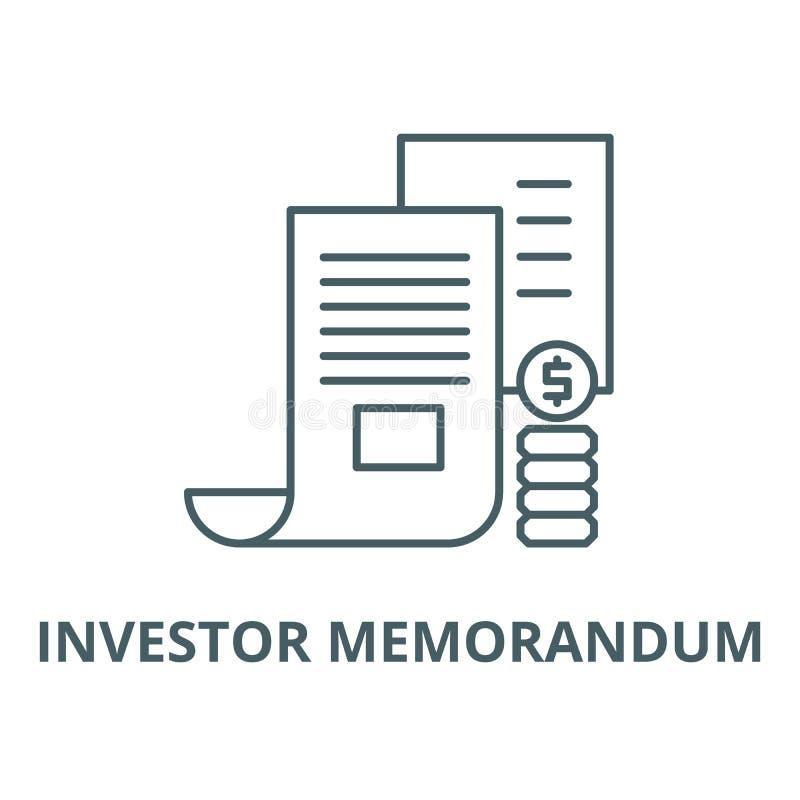 Linea icona, concetto lineare, segno del profilo, simbolo di vettore di memorandum dell'investitore royalty illustrazione gratis