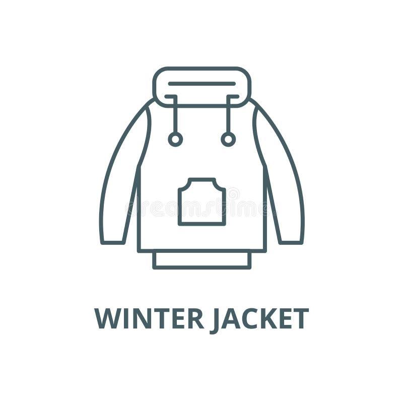 Linea icona, concetto lineare, segno del profilo, simbolo di vettore del rivestimento di inverno illustrazione vettoriale