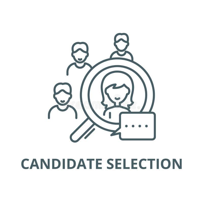 Linea icona, concetto lineare, segno del profilo, simbolo di vettore di selezione del candidato illustrazione vettoriale