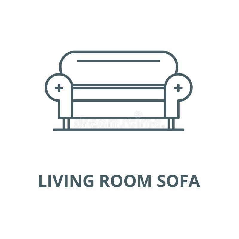 Linea icona, concetto lineare, segno del profilo, simbolo di vettore del sofà del salone illustrazione di stock