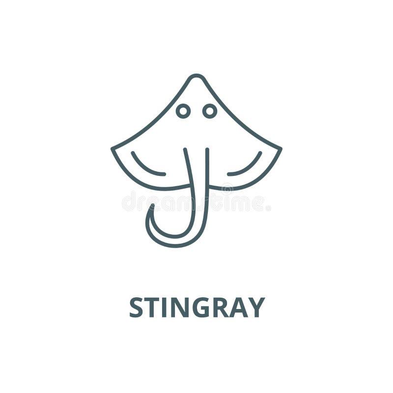 Linea icona, concetto lineare, segno del profilo, simbolo di vettore di stingray illustrazione di stock