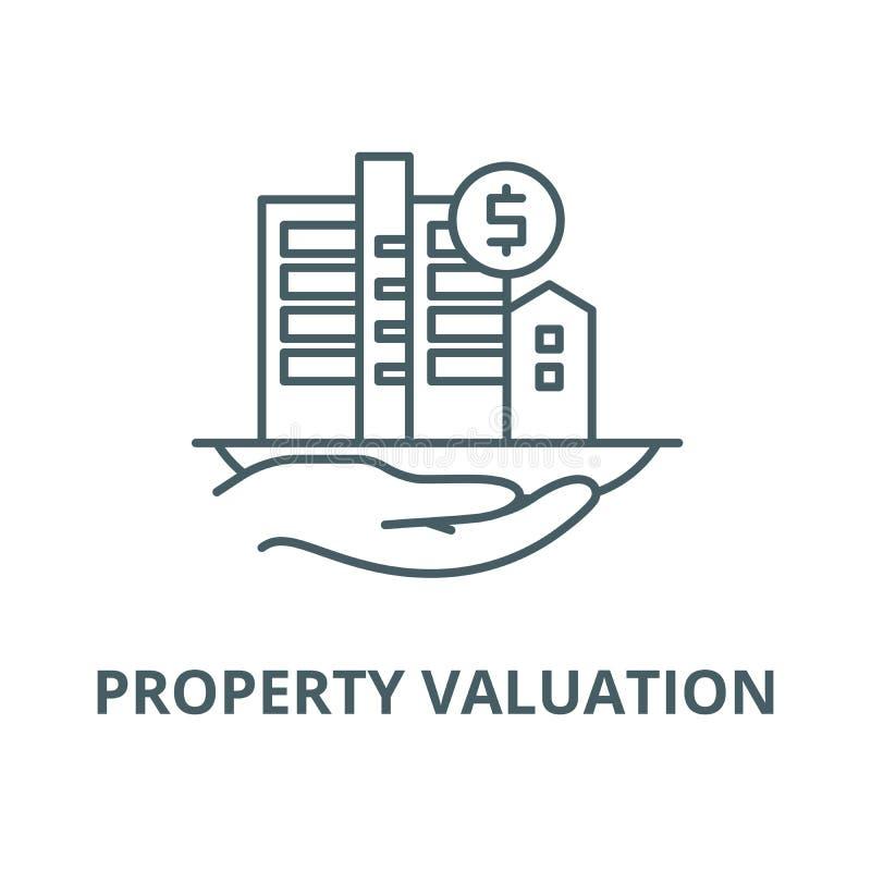 Linea icona, concetto lineare, segno del profilo, simbolo di vettore di valutazione della propriet? royalty illustrazione gratis