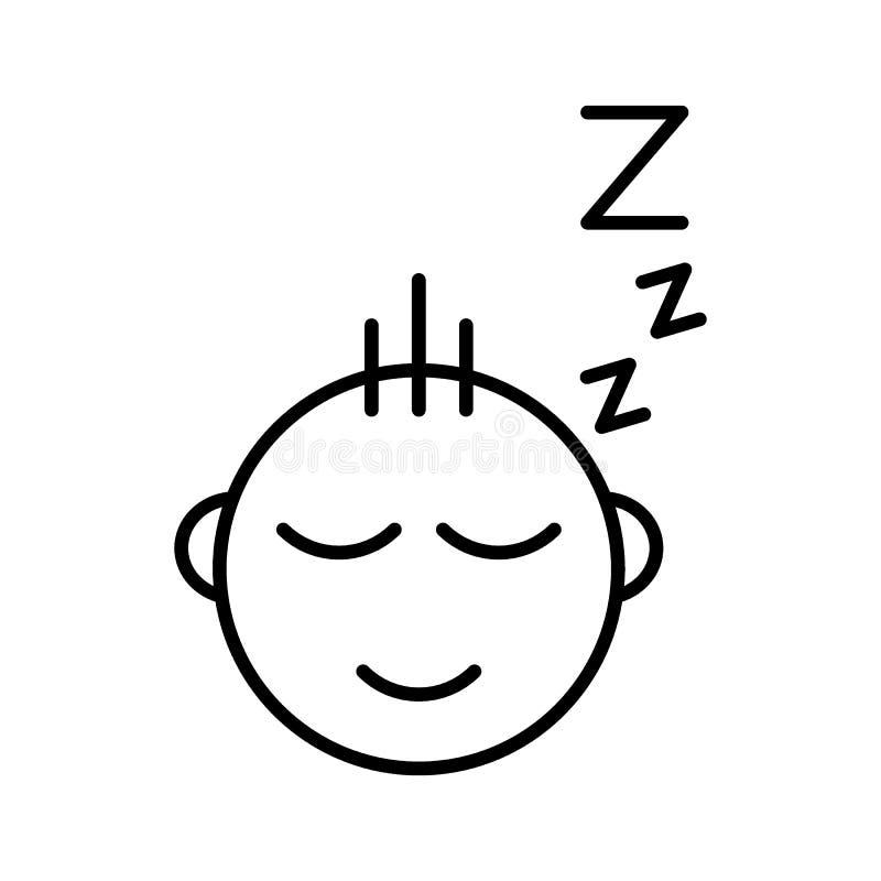 Linea icona del bambino di sonno Illustrazione di vettore isolata su bianco progettazione di stile del profilo, progettata per il illustrazione vettoriale