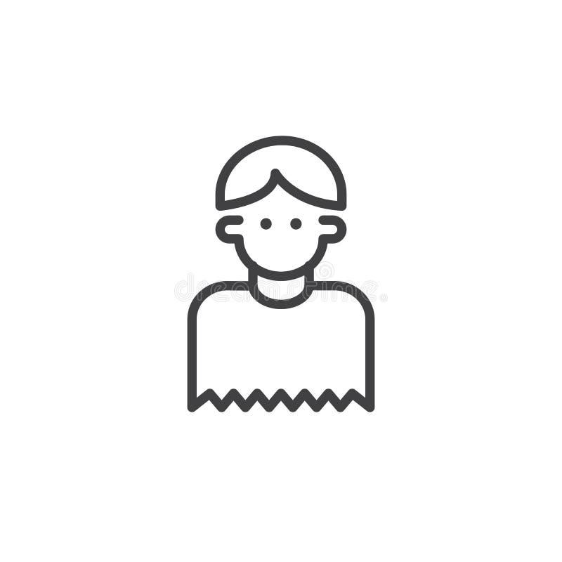 Linea icona del barbiere del ragazzo royalty illustrazione gratis