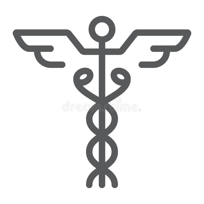 Linea icona del caduceo, medico ed ospedale, farmacia illustrazione vettoriale