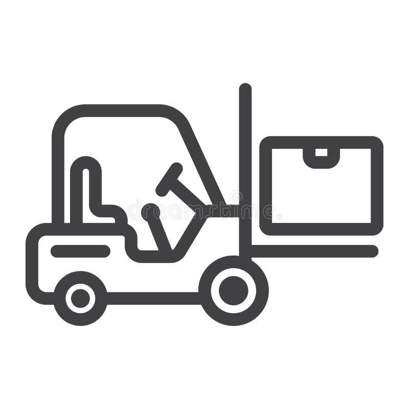 Linea icona del camion di consegna del carrello elevatore, logistica illustrazione di stock