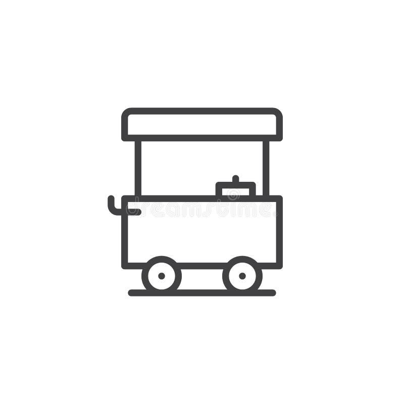 Linea icona del carretto dell'alimento della via illustrazione di stock