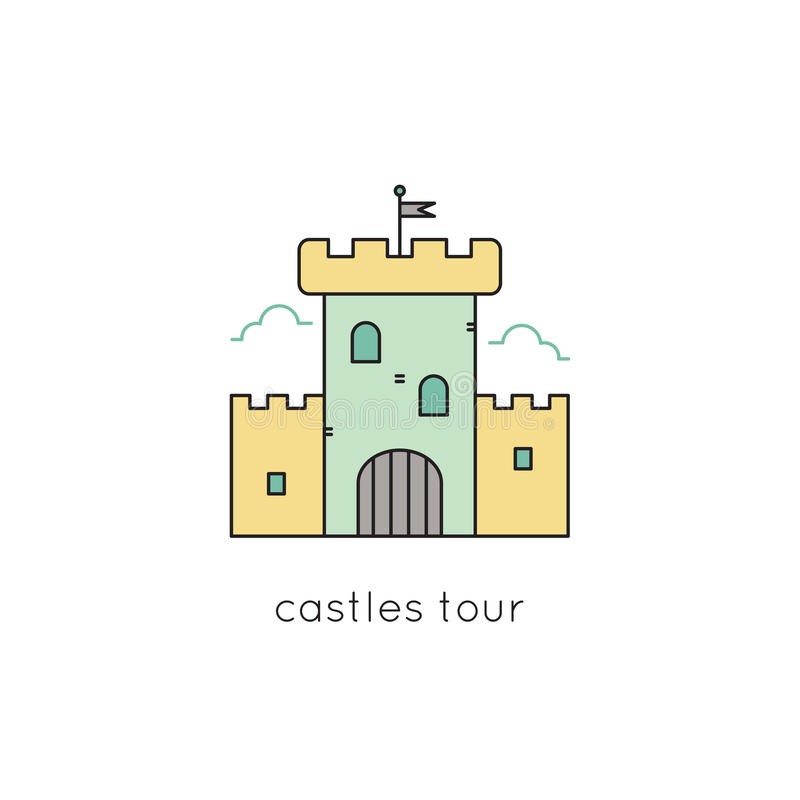 Linea icona del castello illustrazione di stock