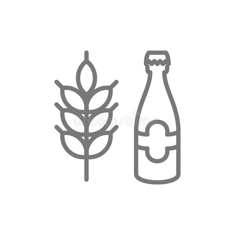 Linea icona del chicco di grano del grano e della bottiglia di birra illustrazione di stock