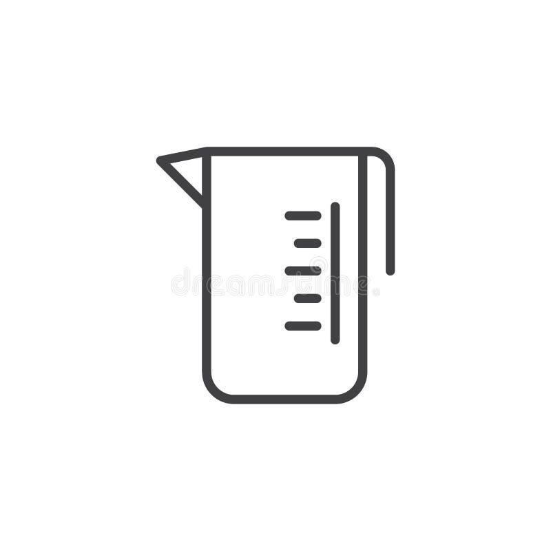 Linea icona del cilindro graduato illustrazione di stock