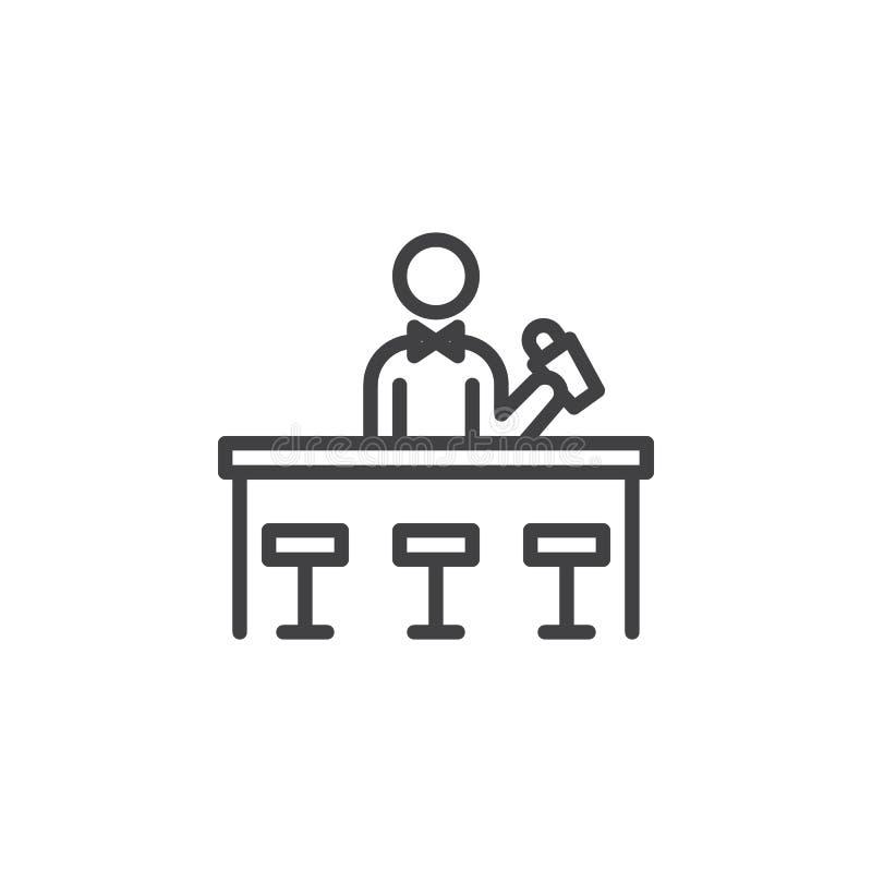 Linea icona del cocktail di miscelazione del barista illustrazione vettoriale