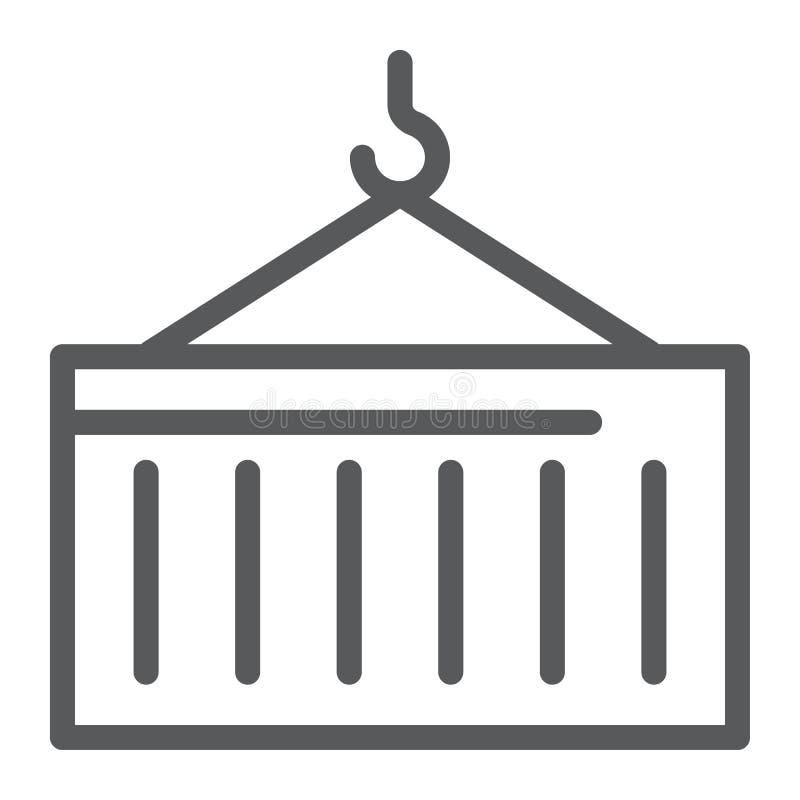 Linea icona del contenitore, carico e trasporto, segno della gru, grafica vettoriale, un modello lineare su un fondo bianco illustrazione vettoriale