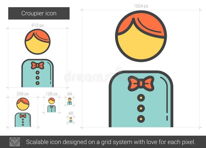 Linea icona del croupier illustrazione di stock