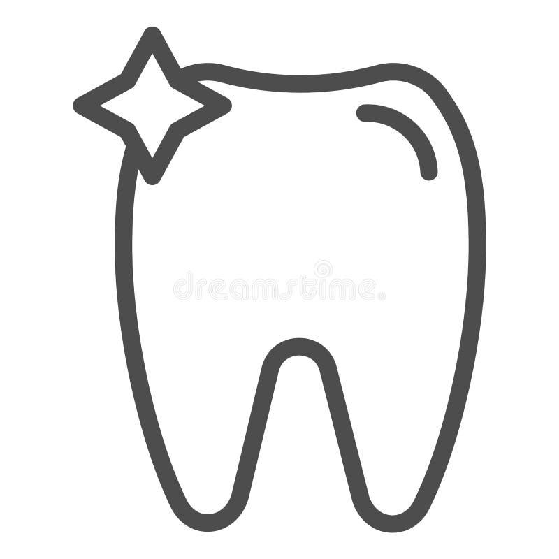 Linea icona del dente Illustrazione di vettore dell'ammaccatura isolata su bianco Progettazione di stile del profilo di odontoiat illustrazione di stock