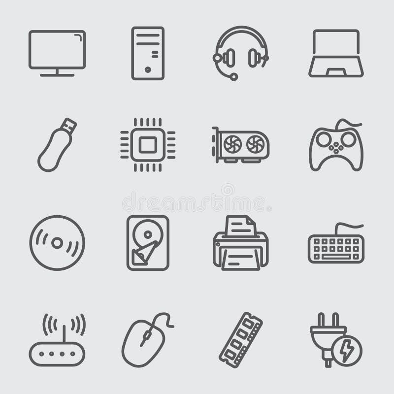 Linea icona del dispositivo del computer royalty illustrazione gratis