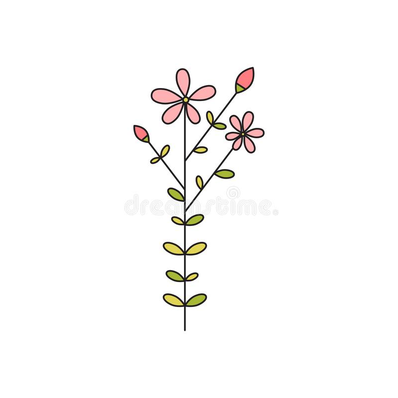 Linea icona del fiore del gambo illustrazione di stock