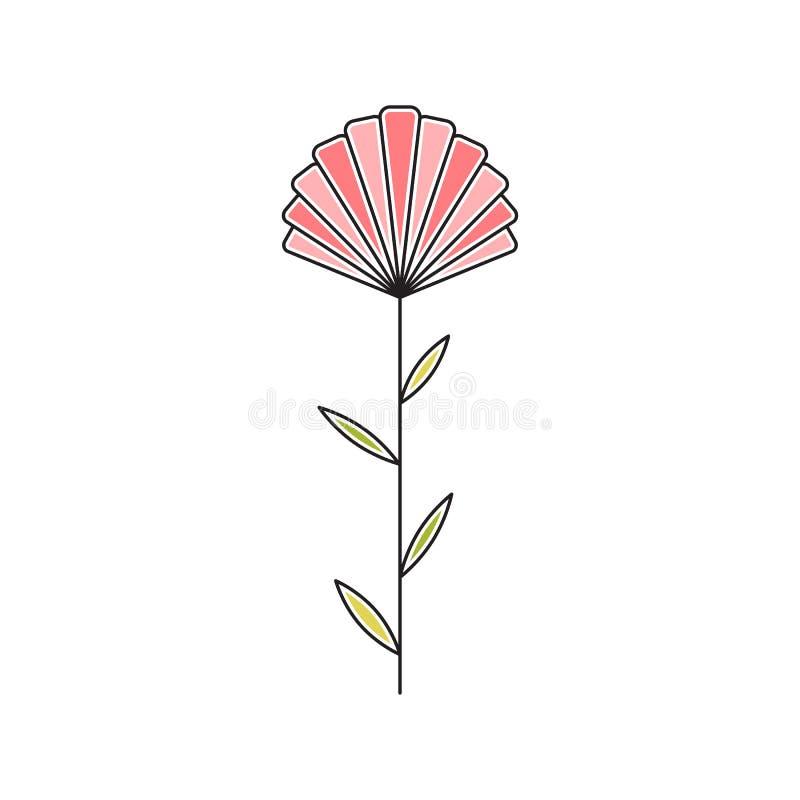 Linea icona del fiore del gambo illustrazione vettoriale