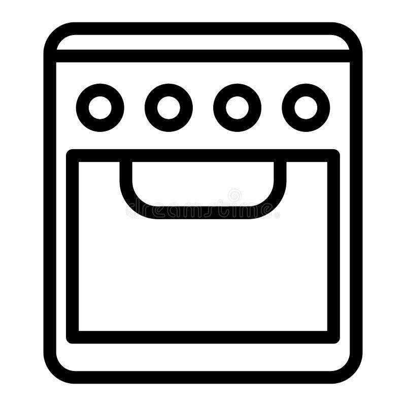 Linea icona del forno Illustrazione di vettore della stufa isolata su bianco Progettazione di stile del profilo del fornello, pro royalty illustrazione gratis