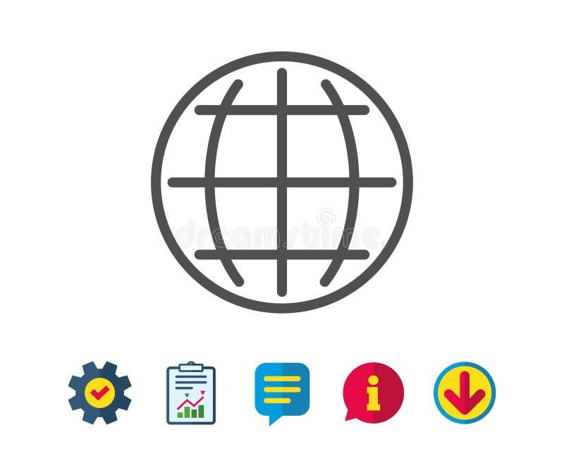 Linea icona del globo Segno della terra o del mondo illustrazione vettoriale