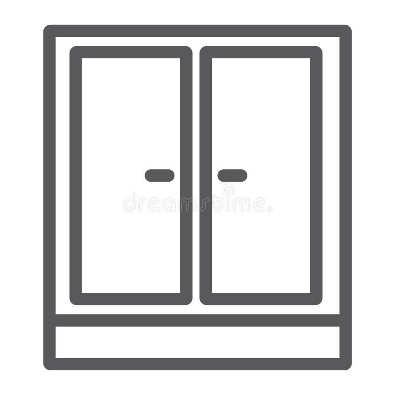 Linea icona del guardaroba, mobilia e casa, segno dell'armadietto, grafica vettoriale, un modello lineare su un fondo bianco illustrazione vettoriale