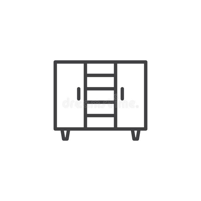 linea icona del guardaroba illustrazione vettoriale
