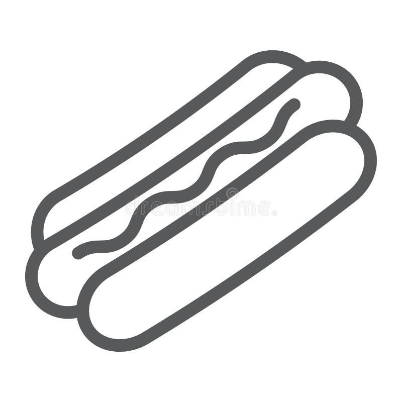Linea icona del hot dog, alimento e carne, segno degli alimenti a rapida preparazione, grafica vettoriale, un modello lineare su  illustrazione vettoriale