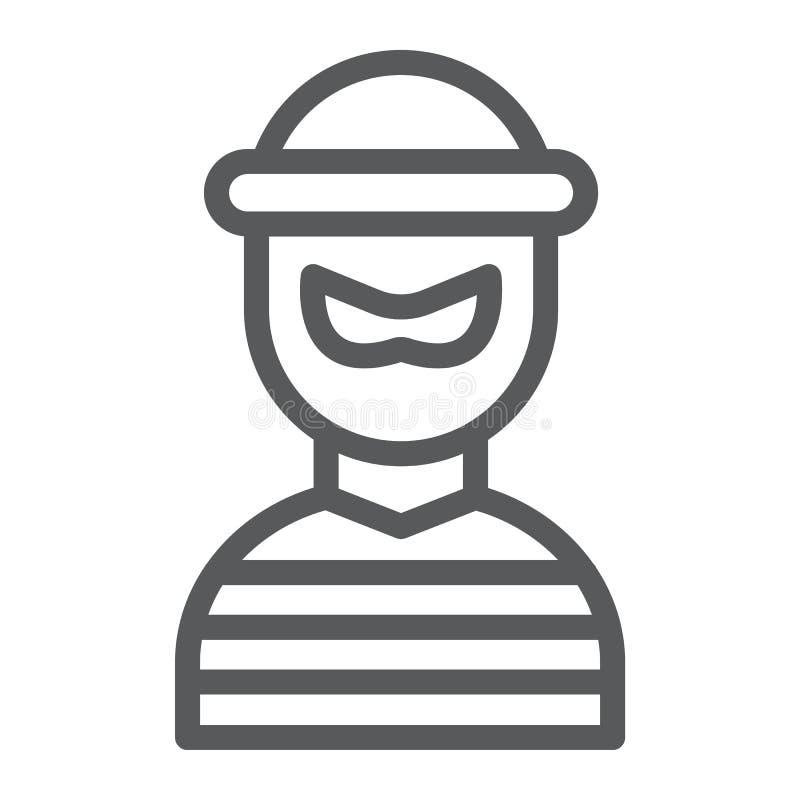 Linea icona del ladro, scassinatore e criminale, segno del bandito, grafica vettoriale, un modello lineare su un fondo bianco illustrazione vettoriale