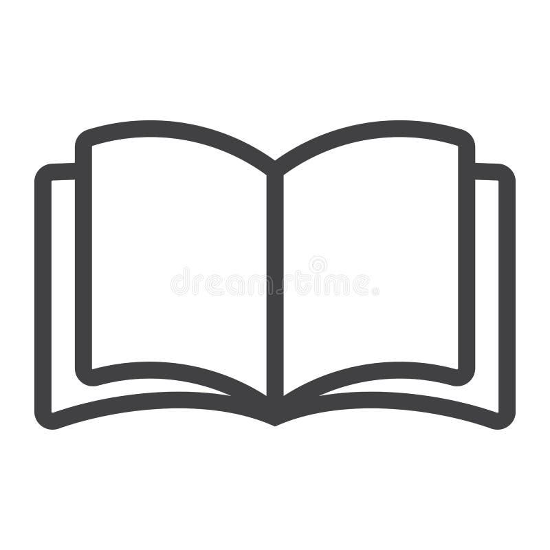 Linea icona del libro aperto, web e cellulare, modo di lettura illustrazione vettoriale