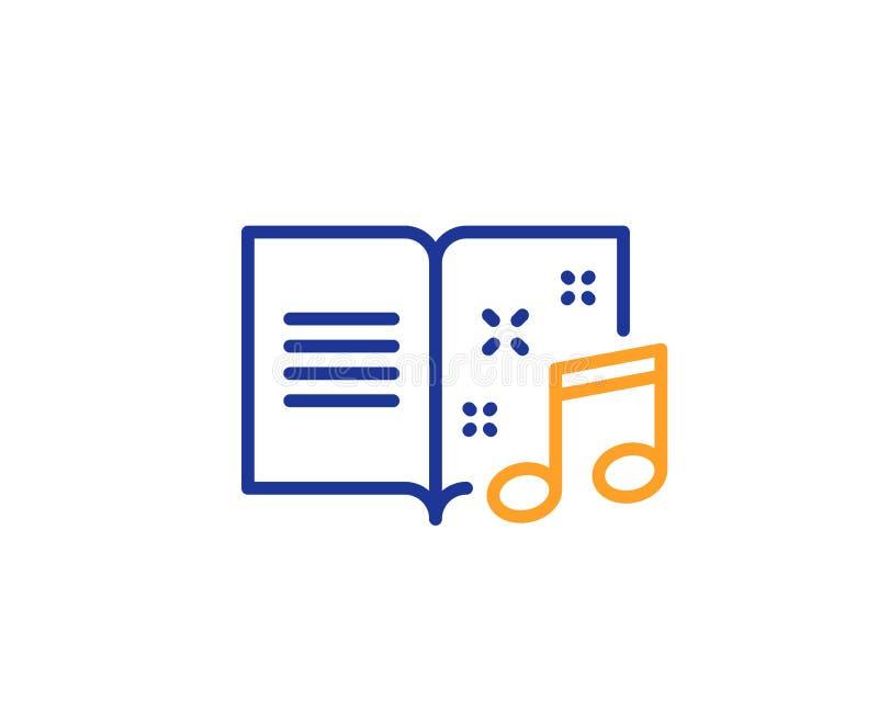 Linea icona del libro di musica Segno della nota musicale Vettore royalty illustrazione gratis