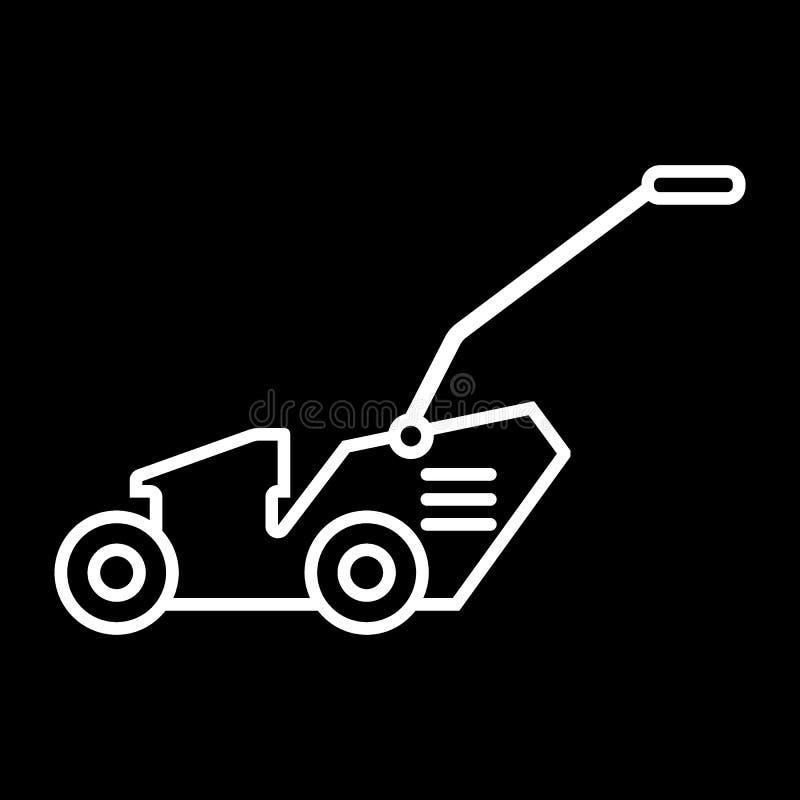 Linea icona del motore del prato inglese Illustrazione di vettore isolata sul nero progettazione di stile del profilo, progettata royalty illustrazione gratis