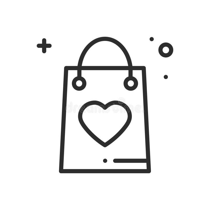 Linea icona del pacchetto di acquisto Presente, contenitore di regalo Segno e simbolo felici di giorno di S. Valentino Feste di c illustrazione vettoriale