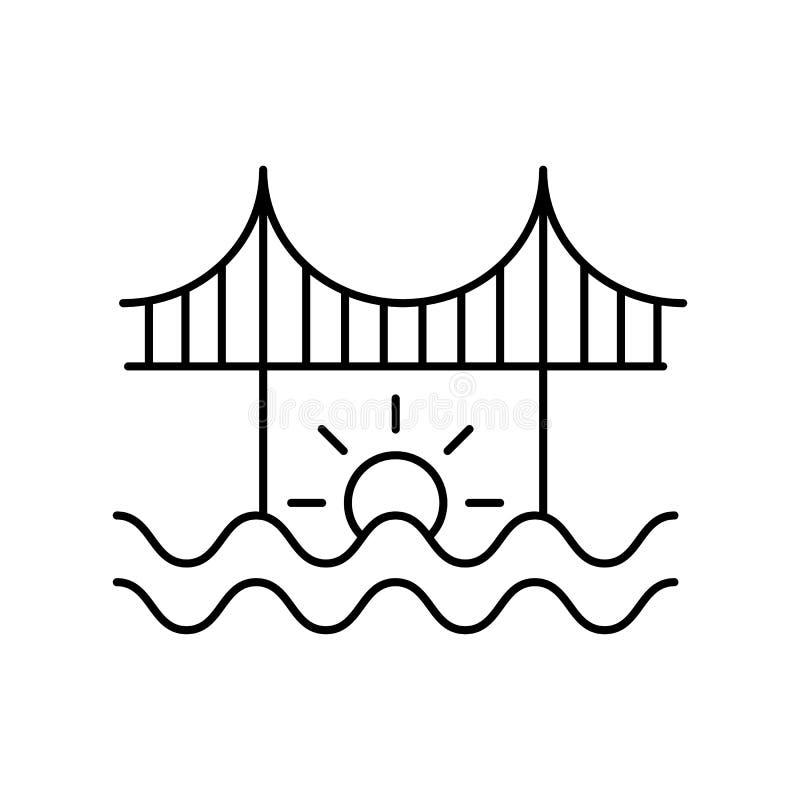 Linea icona del paesaggio del fiume del ponte Elemento dell'icona dei paesaggi illustrazione di stock