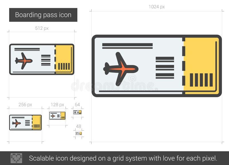 Linea icona del passaggio di imbarco illustrazione di stock