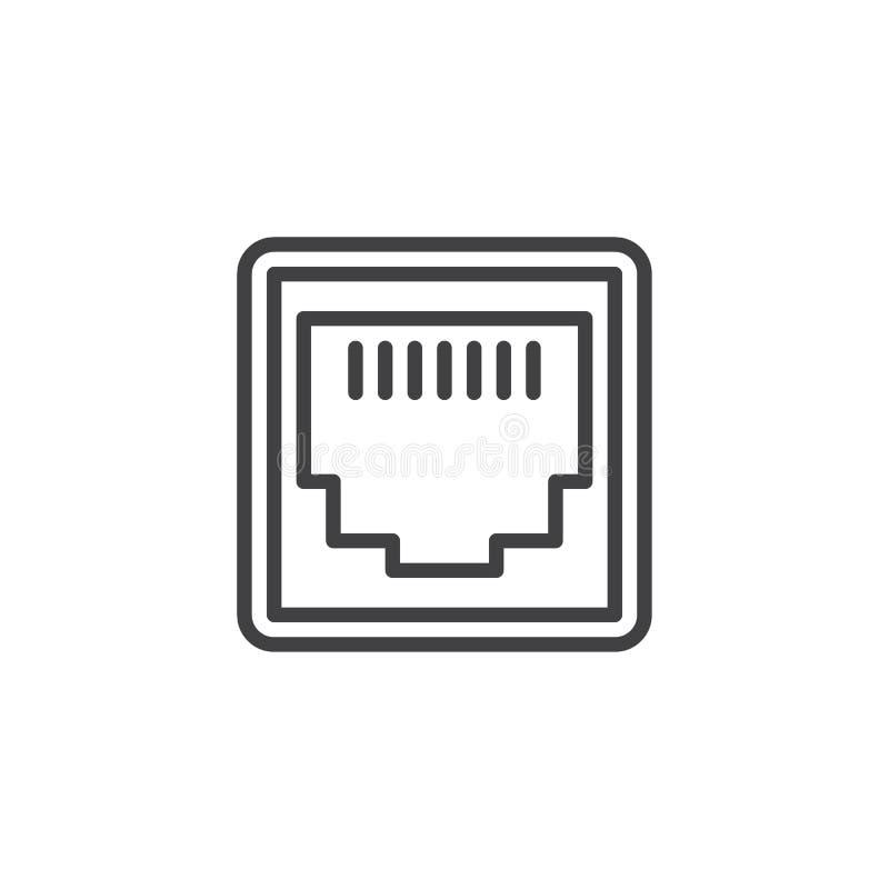 Linea icona del porto di rete di lan illustrazione di stock