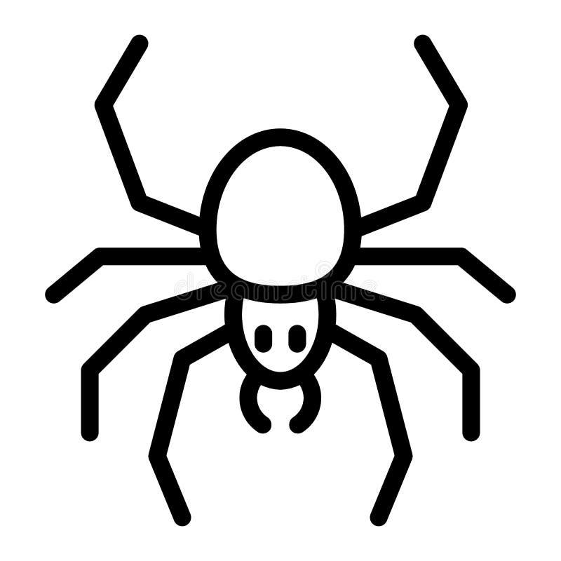 Linea icona del ragno Illustrazione di vettore dell'aracnide isolata su bianco Progettazione di stile del profilo dell'insetto, p illustrazione di stock