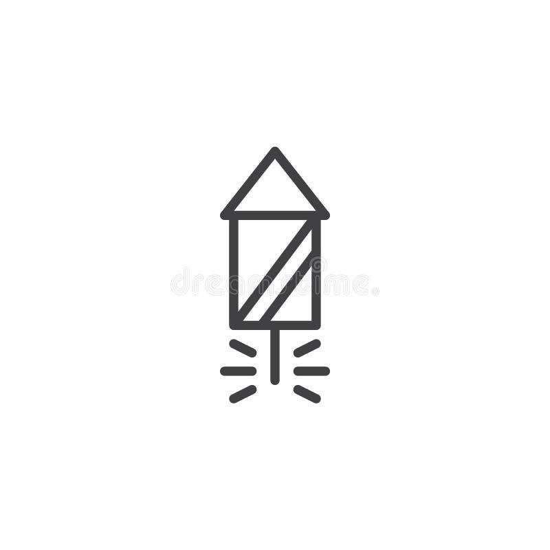 Linea icona del razzo dei fuochi d'artificio illustrazione di stock