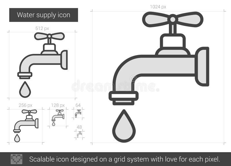 Linea icona del rifornimento idrico illustrazione vettoriale