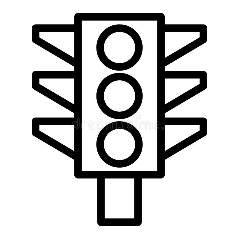 Linea icona del semaforo Illustrazione del segnale stradale isolata su bianco Progettazione di stile del profilo delle luci, prog illustrazione vettoriale