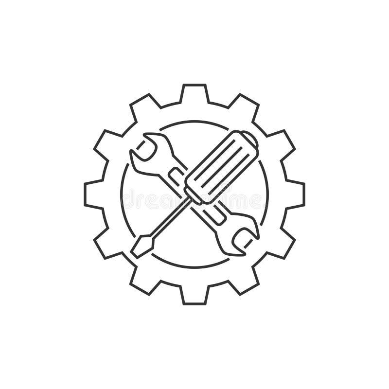 Linea icona del supporto tecnico illustrazione di stock